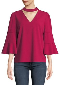 Laundry by Shelli Segal Choker-Neck Flare-Sleeve Crepe Blouse