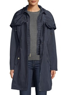 Laundry by Shelli Segal Cinched Zip-Front Wind-Resistant Rain Jacket