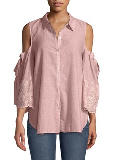 Laundry by Shelli Segal Cold-Shoulder Easy-Fit Button-Front Blouse