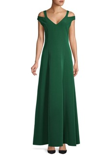 Laundry by Shelli Segal Cold-Shoulder Flare Gown