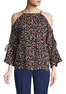 Laundry by Shelli Segal Cold-Shoulder Floral Bell-Sleeve Top