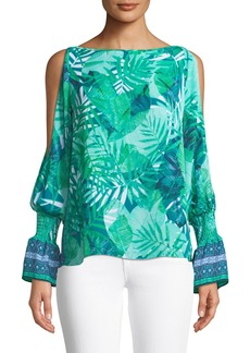 Laundry by Shelli Segal Cold Shoulder Palm-Leaf Blouse