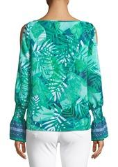 Laundry by Shelli Segal Cold Shoulder Palm-Leaf Blouse