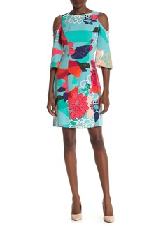 Laundry by Shelli Segal Floral Cold Shoulder Shift Dress