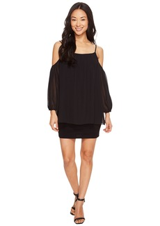 Laundry by Shelli Segal Cold Shoulder Spaghetti Popover Cocktail Dress