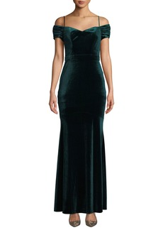 Laundry by Shelli Segal Cold-Shoulder Velvet Gown