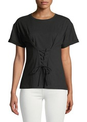 Laundry by Shelli Segal Corset-Front Short-Sleeve Tee