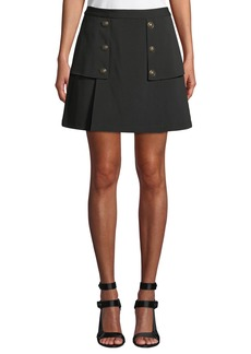 Laundry by Shelli Segal Crepe Novelty Button Skirt