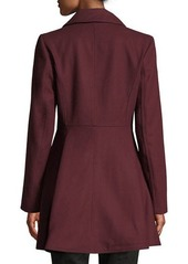 Laundry by Shelli Segal Double-Breasted Military Fit & Flare Coat