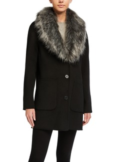 Laundry by Shelli Segal Double Face Wool-Blend Coat with Removable Faux Fur
