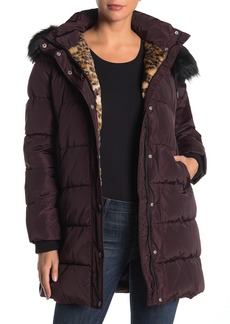 Laundry by Shelli Segal Downs Hooded Faur Fur Trim Puffer Coat