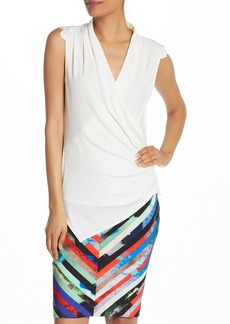Laundry by Shelli Segal Embellished Matte Jersey Top