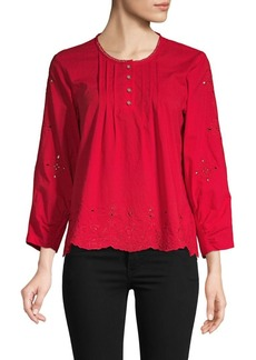 Laundry by Shelli Segal Embroidered Cotton Top