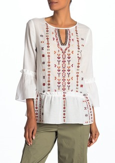 Laundry by Shelli Segal Embroidered Bohemian Ruffle Hem Top