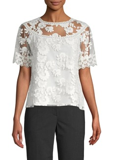 Laundry by Shelli Segal Embroidered Floral Lace Top