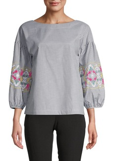 Laundry by Shelli Segal Embroidered Puff Sleeve Pinstriped Top