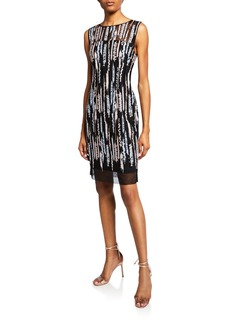Laundry by Shelli Segal Embroidered Sequin Mesh Dress