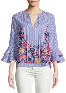 Laundry by Shelli Segal Embroidered Stripe Blouse