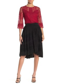 Laundry by Shelli Segal Eyelash Lace Pleated Satin High/Low Skirt