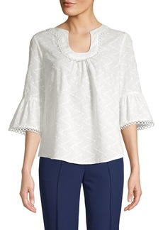 Laundry by Shelli Segal Eyelet U-Neck Bell Sleeve Top