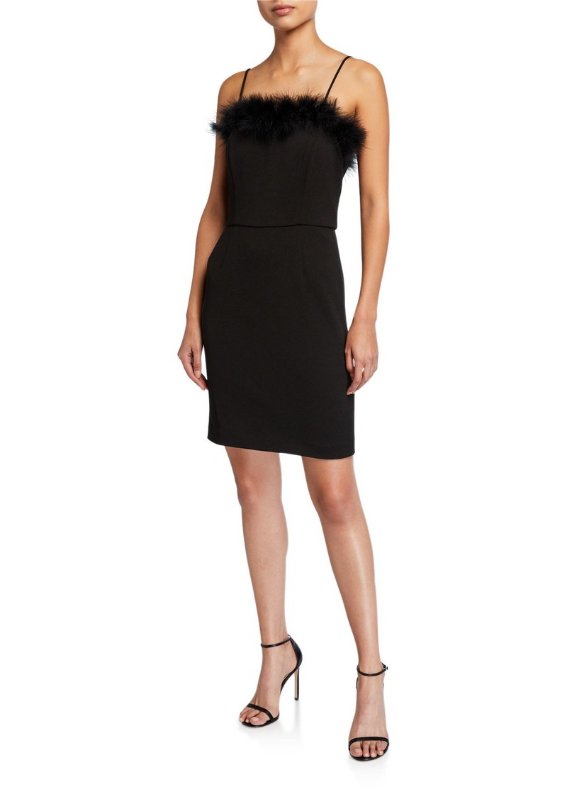 Laundry by Shelli Segal Faux Feather Trim Square Neck Sheath Dress