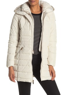 Laundry by Shelli Segal Faux Fur Accented Velvet Trimmed Bibbed Puffer Coat