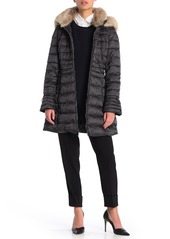 Laundry by Shelli Segal Faux Fur Timmed Bell Cuff Quilted Parka
