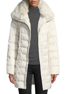 Laundry by Shelli Segal Faux Fur-Trim Hooded Puffer Coat