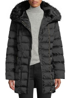 Laundry by Shelli Segal Faux Fur-Trim Hooded Puffer Coat