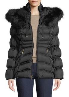 Laundry by Shelli Segal Faux-Fur Trim Hooded Short Puffer Jacket