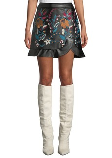 Laundry by Shelli Segal Faux-Leather Floral-Embroidered Skirt