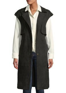 Laundry by Shelli Segal Faux-Suede Trench Vest w/ Removable Belt