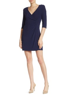 Laundry by Shelli Segal Faux Wrap 3/4 Length Sleeve Dress