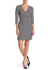 Laundry by Shelli Segal Faux Wrap Geometric 3/4 Sleeve Dress