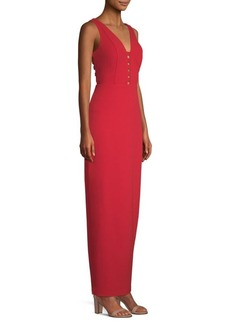 Laundry by Shelli Segal Fitted Cut-Out Crepe Gown