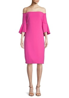 Laundry by Shelli Segal Flare-Sleeve Crepe Dress