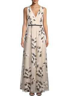Laundry by Shelli Segal Floral-Embroidered Glitter Mesh V-Neck Gown