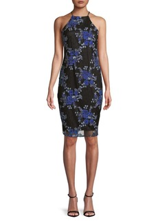Laundry by Shelli Segal Floral-Embroidered Sheath Dress