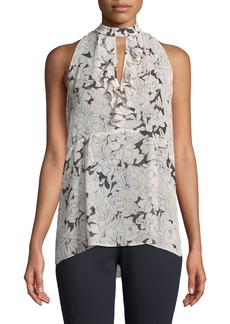 Floral Halter-Neck Sleeveless Blouse