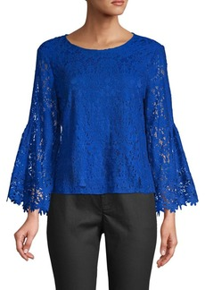 Laundry by Shelli Segal Floral Lace Cotton-Blend Top