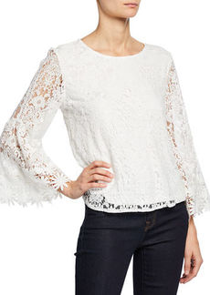 Laundry by Shelli Segal Floral Lace Top w/ Bell Sleeves