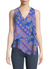 Laundry by Shelli Segal Floral Patchwork Asymmetric Blouse