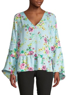 Laundry by Shelli Segal Floral-Print Bell-Sleeve Top