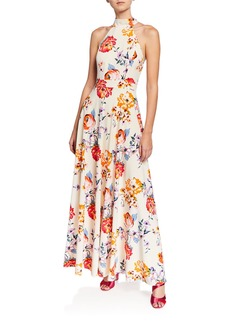 Laundry by Shelli Segal Floral Print Halter A-Line Dress
