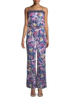 Laundry by Shelli Segal Floral-Print Lace-Trimmed Jumpsuit