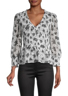 Laundry by Shelli Segal Floral-Print Smocked Blouse