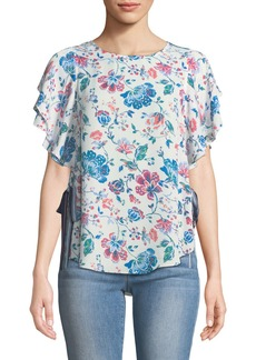 Floral-Print Tie-Side Blouse