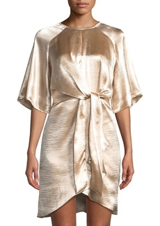 Laundry by Shelli Segal Flutter-Sleeve Tie-Draped Satin Dress