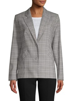 Laundry by Shelli Segal Fringe-Trimmed Plaid Jacket