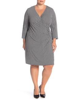 Laundry by Shelli Segal Geometric Print Faux Wrap Dress (Plus Size)